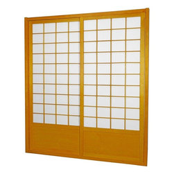 "Oriental Furniture - 7 ft. Tall Zen Shoji Sliding Door Kit (Double - Sided) - Honey - This fantastic Zen Shoji Sliding Door Kit (Double-Sided) comes with sliding doors, top and bottom tracks, and right and left door jambs. Rough opening (outside dimension) approximately 83.00""H x 73.50""W x 3.50""D. Tracks and jambs are approximately 1.75"" Thick x 3.50"" Deep. Each door measures approx. 36.00""W x 80.00""H x 1.00""D."