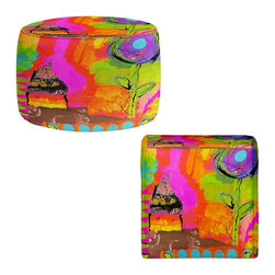 DiaNoche Designs - Ottoman Foot Stool by China Carnella - Glitter House - Lightweight, artistic, bean bag style Ottomans. You now have a unique place to rest your legs or tush after a long day, on this firm, artistic furtniture!  Artist print on all sides. Dye Sublimation printing adheres the ink to the material for long life and durability.  Machine Washable on cold.  Product may vary slightly from image.