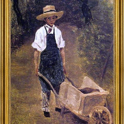 """Jean-Baptiste-Camille Corot-18""""x24"""" Framed Canvas - 18"""" x 24"""" Jean-Baptiste-Camille Corot Octave Chamouillet Pushing a Wheelbarrow in a Garden framed premium canvas print reproduced to meet museum quality standards. Our museum quality canvas prints are produced using high-precision print technology for a more accurate reproduction printed on high quality canvas with fade-resistant, archival inks. Our progressive business model allows us to offer works of art to you at the best wholesale pricing, significantly less than art gallery prices, affordable to all. This artwork is hand stretched onto wooden stretcher bars, then mounted into our 3"""" wide gold finish frame with black panel by one of our expert framers. Our framed canvas print comes with hardware, ready to hang on your wall.  We present a comprehensive collection of exceptional canvas art reproductions by Jean-Baptiste-Camille Corot."""