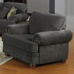 "Coaster - Colton Chair, Smokey Grey - Sink deep into the ultra plush seats of the Colton collection. Featuring clean poly fill cushions with pocket coils, solid wood legs and rolled arms, this sofa set is perfect for any traditional living room. Each piece is wrapped in a soft chenille in smokey grey and are complemented by patterned accent pillows.; Traditional Style; Finish/Color: Smokey Grey; Upholstery: Chenille; Dimensions: 44""L x 39""W x 39""H"
