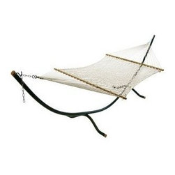 """Algoma Deluxe Double Cotton Rope Hammock - This Algoma Deluxe Double Cotton Rope Hammock provides plenty of room for 2! Made of extra thick 5/15"""" heavy rope cord, it features 100% natural cotton rope and hardwood spreader bars. This wider and longer hammock allows two people to fit comfortably. Perfect for Dad to stretch out on and enjoy a restful afternoon. Enjoy the look, feel, and comfort of this natural cotton hammock."""