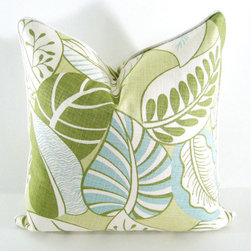 Blue, Green Decorative Pillow Cover in Tropical Leaves By Annsliee - In the spring, green leaves and blue skies return once again. Mimic them indoors with this botanical print.