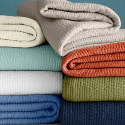 Garnet Hill - Garnet Hill Handstitched Cotton Dream Quilt - Double/Queen - Bay Leaf Green - Soft and lightweight, this hand-stitched essential cotton quilt is also an indulgence. Pure cotton, including the billowy fill. Ideal for all-season comfort.