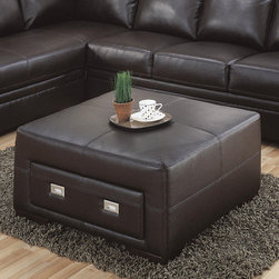 Monarch - Chocolate Brown Bonded Leather Storage Ottoman - This wonderful contemporary storage ottoman will be a great addition to your living room or family room. The piece has a simple but sophisticated style, with an oversized square top cushion with accent stitching, which offers a comfortable place to rest your feet, or an extra seat. It features a drawer to reveal a spacious enclosed storage area, perfect for stowing magazines and remote controls. Sleek square wooden feet and chocolate brown bonded leather complete the piece.