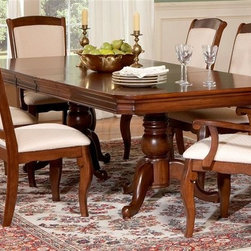 Liberty Furniture - Louis Philippe 7 Pc Double Pedestal Table Set - Includes table, four side chairs and two arm chairs. Two 14 in. leaves. Seats up to eight. Upholstered chairs. Nylon chair glides. Warranty: One year. Made from hardwoods, poplar solids and cherry veneers. Cherry finish. Made in Malaysia. Side chair: 20 in. W x 18 in. D x 42 in. H (24 lbs.). Arm chair: 25 in. W x 18 in. D x 41 in. H (22 lbs.). Table minimum: 68 in. L x 44 in. W x 30 in. H. Table maximum: 96 in. L x 44 in. W x 30 in. H (247 lbs.)