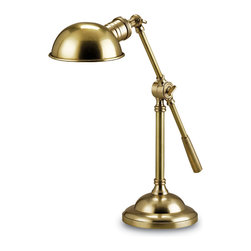 Currey & Co - Currey & Co 6739 Chamber Antique Brass Desk Lamp - 1 Bulb, Bulb Type: 40 Watt Edison; Weight: 8.5lbs
