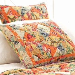 Pine Cone Hill - nana's kaleidoscope quilted sham - Enjoy the arts-and-crafts feel of our farmer's market bedding collection featuring charismatic bursts of color softened by traditional patterns. A bright and cheery mellange of vintage and modern with classic sensibility, this collection mixes soft florals and plush textures to lend a traditional look and feel to decorative pillows, shams and bed skirts. Charming bedspreads and throw blankets finish the bed with casual sophistication.