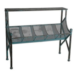 Uttermost - Uttermost Generosa 42.75 x 16.75 Rectangular Iron Bookshelf Table - Bob and Belle Cooper founded The Uttermost Company in 1975 and it is still 100% owned by the Cooper family. The Uttermost mission is simple and timeless: to make great home accessories at reasonable prices. Inspired by award-winning designers custom finishes innovative product engineering and advanced packaging reinforcement Uttermost continues to deliver on this mission.  For over 30 years Uttermost has enjoyed steady growth with over 200 employees working in its Rocky Mount Virginia factories totaling 600000 square feet. It also has a factory in China and a state-of-the-art West Coast distribution center for increased capacity and faster shipping to West Coast retailers and customers.  Uttermost is proud to support many of the world's most prestigious home-furnishing customers with its products and services. Uttermost believes its success is largely based on its commitment to three key principles: proving superior customer service maximizing product value through great design and sharp pricing and treating its employees sales representatives and designers as partners in business.