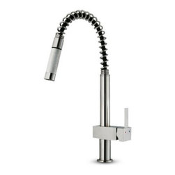 Vigo VG02009ST Single Handle Pull Down Kitchen Faucet - The Vigo VG02009ST Single Handle Pull Down Kitchen Faucet features an elevated lever for temperature and water control and a stainless steel finish that's corrosion and tarnish resistant. The all-brass construction will last a lifetime and the modern design with spiral pull-down spray head will never go out of style. Product Specifications ADA Compliant: Yes Low Lead Compliant: Yes Mount Type: Deck Mount Handle Style: Lever Valve Type: Ceramic Disc Flow Rate (GPM): 2.2 Swivel: 360 degrees Spout Height: 11.75 in. Spout Reach: 8 in. About Vigo Industries LLCFounded just over a decade ago in Rahway N.J. Vigo Industries has established a reputation for offering attractive affordable innovative and durable kitchen and bath products. From faucets and sinks to shower enclosures and bathroom vanities Vigo's products are designed with state-of-the-art engineering that combines efficiency and elegance. Vigo's engineering and design teams always look ahead to fulfill the ever-evolving needs and tastes of consumers bringing them the latest styles and trends without compromising quality.
