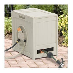 Suncast - 125 Ft. Hydro Power Auto Rewind Hose Reel - 125 ft. of 5/8 in. hose capacity. Water powered automatic hose reel. Smart Trak hose guide tracks hose neatly onto reel. Hands-free rewinding at the flip of a lever. Durable plastic casing with wood-like texture. Discharge tube and leader hose included. Garden stakes (2) included. 14 in. W x 20 3/4 in. D x 19 3/4 in. H