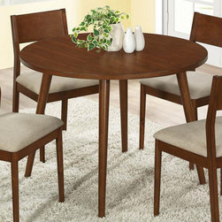 """Monarch - Modern Oak Veneer 42""""Dia Dining Table - Create a stylish look in your kitchen area with this beautiful round dining table. Its modern oak veneer finish adds warmth and class to your dining space. This piece features solid wood square legs and a spacious rectangular top that provides ample room for family dinners. This exceptional table will always be an eye catching piece.; Material: Solidwood, Particle Board; Dimensions: 42""""L x 42""""W x 30""""H"""