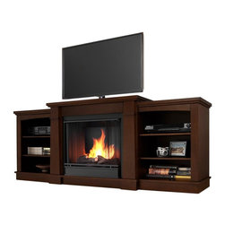 """Real Flame - Hawthorne Gel Fireplace in Dark Espresso - Includes: Mantel, firebox, hand painted cast concrete log, and screen kit. Shelf dimensions:18.25""""W X 15.25""""D. Fits up to a 50""""(diagonal) TV, 100 lb. weight limit. Uses clean burning Real Flame Gel fuel emitting up to 9,000 BTUs of heat per hour lasting up to 3 hours. Solid wood and veneered MDF construction. Uses Only Real Flame 13oz Gel Fuel Cans, not included. Assembly Required. 74.72 in. W x 18.82 in. D x 29.88 in. H (138 lbs.)The Hawthorne Gel Fireplace features mission inspired details, arched side panels, a multi level top surface and room for media and A/V component storage; doubling it's use as an entertainment unit. Supports most TV's weighing 100 lbs. or less. The hand-painted log set and bright crackling flame add to the realistic look of this Real Flame Gel Fuel Fireplace. Uses 3-13oz cans of Real Flame Gel Fuel."""