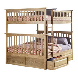 Atlantic Furniture - Atlantic Furniture Columbia Full over Full Bunk Bed in Natural Maple - Atlantic Furniture - Bunk Beds - AB55505 - The Atlantic Furniture Columbia Full over Full Bunk Bed has a clean modern look with subtle Mission styling. The simple lines of the head and foot boards have the square posts and slats characteristic of this design. This versatile bunk bed is available in a number of options that is sure to please both you and your child.