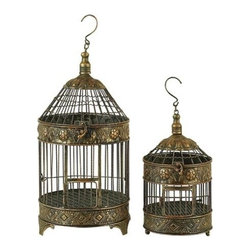 "Benzara - Set of 2 Patina Metal Round Birds Cages 22"" - Set of 2 Patina Metal Round Birds Cages 22"". Dome shape birds cages are made from cast solid metal. Dimension: Tall Bird cage 20""H x 10"" diameter and Small Bird cage is 13.5""H x 8"" diameter."