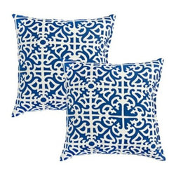 Indigo Blue Outdoor Accent Pillows - Perfect for the upcoming holidays, this blue and white color combination will bring cheer into any room.