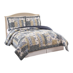 Pem America - Dumont Twin Quilt with Pillow Sham - This traditional patchwork pattern uses soft yellows, blacks and grays with occasional pops of canary yellow and sapphire blue.  The reverse is a solid black. Includes: 1 Twin Quilt, (68x90 inches) and 1 standard sham (21x27 inches). 100% cotton face cloth and 100% microfiber reverse. with 80% cotton / 20%polyester fill.  Prewashed for softness. Machine washable.