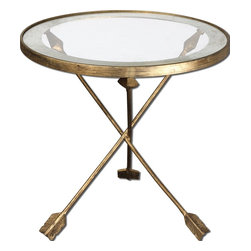 Aero Glass Top Accent Table - Artistically, Forged Iron With Antiqued Gold Leaf Finish And Tempered Glass Top Encircled By An Antiqued Mirror Accent.