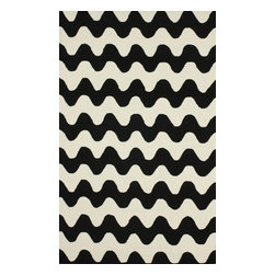 """nuLOOM - Contemporary 3' 6"""" x 5' 6"""" Black Hand Hooked Area Rug Chevron HK89 - Made from the finest materials in the world and with the uttermost care, our rugs are a great addition to your home."""