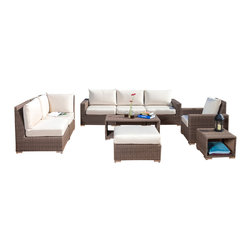 Great Deal Furniture - Clayton Outdoor 9pc Wicker Sectional Sofa Set - There is nothing like enjoying the warm outdoors like having the comforts of the Clayton 9pc sectional sofa set. Constructed from mixed brown wicker material, this set includes an L-shaped  sofa, armchair with matching ottoman, and a wicker coffee and side table. This piece allows for multiple arrangement possibilities and can be placed together or separately. The wicker material is durable to weather the outdoor environment, requiring very little maintenance to retain its longevity. It includes off-white plush cushions that provide a comfortable experience for your guests.