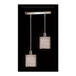 Elegant Lighting - Mini Clear Crystal Pendant w 2 Lights in Chrome (Strass Swarovski) - Choose Crystal: Strass Swarovski. 3 ft. Chain/Wire Included. Bulbs not included. Crystal Color: Crystal (Clear). Chrome finish. Number of Bulbs: 2. Bulb Type: GU10. Bulb Wattage: 55. Max Wattage: 110. Voltage: 110V-125V. Assembly required. Meets UL & ULC Standards: Yes. 8 in. W x 4.5 in. D x 8 to 48 in. H (5lbs.)Description of Crystal trim:Royal Cut, a combination of high quality lead free machine cut and machine polished crystals & full-lead machined-cut crystals..SPECTRA Swarovski, this breed of crystal offers maximum optical quality and radiance. Machined cut and polished, a Swarovski technician¢s strict production demands are applied to this lead free, high quality crystal.Strass Swarovski is an exercise in technical perfection, Swarovski ELEMENTS crystal meets all standards of perfection. It is original, flawless and brilliant, possessing lead oxide in excess of 39%. Made in Austria, each facet is perfectly cut and polished by machine to maintain optical purity and consistency. An invisible coating is applied at the end of the process to make the crystal easier to clean. While available in clear it can be specially ordered in a variety of colors.Not all trims are available on all models.