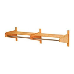 Wooden Mallet - Two-Bay Hat & Coat Rack w Slatted Top Shelf & - Finish: Light Oak - 15.5 D x 49.75 W x 11.5 HMake your office entrance a stylish and functional space with this double hat and coat rack, featuring a slatted top shelf and a chrome tone bar for coat hangers. The piece is a perfect place for coats, hats, scarves, sweaters and umbrellas, and includes wall mount hardware. Sturdy 1 in. x 2 in. oak hat rack bars are mortised into the sides and locked in place with screws. Color matched wood plugs are included to cover wall mounting screws. Perfectly compliment Wooden Mallet's Dakota Wave furniture collections. With a standard 1 in. or optional 0.63 in. diameter chrome steel hanger bar. Pictured in Light Oak. Minimal assembly required. Small: (16 lbs.) . Medium: (17 lbs.) . Large: (18 lbs.) Wooden Mallets popular coat & hat racks are made of solid oak, not veneer or wood grain vinyl coverings. Available in two designer colors to coordinate with any decor.