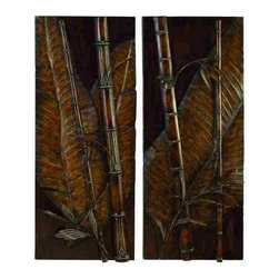 UMA - Rainforest Bamboo 3-D Metal Wall Art - Two 3D metal wall hangings with eye-catching tropical flair