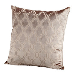 Cyan Design - Cyan Design Flight Pattern Pillow X-80560 - An intricate repeating pattern has been paired with a shimmering fabric to create the luxurious look of this Cyan Design pillow. From the Flight Pattern Collection, this decorative pillow features light and medium tones of taupe, which compliment the pattern beautifully.