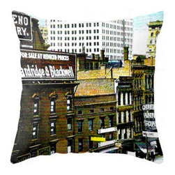 "Pictorial History - 18"" x 18"" Vintage Inspired Throw Pillow Of Vintage Detroit Michigan - Take 1 vintage postcard, a pinch of snazzy editing and a little spun poplin and voila! You have this beautiful pillow depicting downtown Detroit, Michigan's famous Woodward Avenue in it's prime! It was the street for both businesses and homes to be located!"