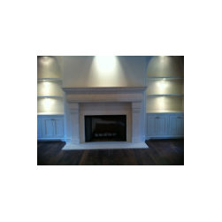 Transitional Limestone Fireplace - R&W Stone.