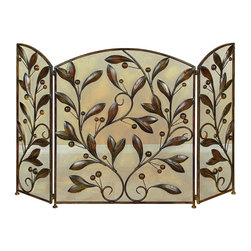 Metal Fire Screen A Decorative Protection - Do have passion for decoration? If yes, why do you limit this hobby just to the drawing room or garden? Some other spots too in the house need your attention. Bring home the best of decorative protection and privacy screens to bring completeness to existing fire places. Just have a look over 71889 Metal FIRE SCREEN; it is ultimate in its category. * Size : 31.50 High 27.00 Wide 4.00 Deep (Inches) (min. aprox. dimensions) * Material : Rust free metal alloy with easy to fold three panels * Color : Brown structure; Space filled with leaves and beads design * Unique Home Decor Item; Exhibits special liking for fire places; Anytime best buy