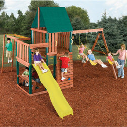 Swing-n-Slide - Chesapeake Wood Complete Swing Set - -Chesapeake Complete Wood Playset includes all pre-cut premium lumber and poly-coated uprights, award-winning Rapid-Loc Bracket System, Climbing Wall with 8 Climbing Rocks, 8' Wave slide, 2 Heavy Duty Swing Seats, Heavy Duty Swing Hangers, Monkey Bars and End Ladder, Ring/Trapeze Combo, 2 Play Decks, Safety Handles, Heavy-Duty Canopy, Picnic Bench, Rung Ladder, Anchor-It Kit, fully-illustrated plans and instructions. -Play decks provide 24 square feet of play space in total. -Lower Play Deck is 4' high, Upper Play Deck is 5' high. -Climbing rocks have a weight capacity of 230 lbs. -Wave Slide has a weight capacity of 250 lbs. -Two swing seats have reinforced chain link and a weight capacity of 115 lbs. -Monkey Bars promote coordination and upper body strength. -Ring/Trapeze Combo has a weight capacity of 115 lbs. -Trapeze Bar is constructed of powder-coated metal, Iron Man Rings are constructed of plastic. -Anchor It playground anchor set is recommended for all swing sets. -Includes mounting hardware Specifications: -Time-saving brackets. -9 Plastic encapsulated 4 x 4 x 8s. -Self-drilling lag screws. -Self-drilling deck screws. -Space Required: 26.5 x 28.5. -Estimated building time 5-10 hours. -Limited 5 year warranty. **Please Note: Swing-N-Slide products are intended for residential use only, and will only be shipped to residential addresses.**