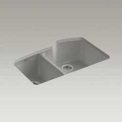 KOHLER - KOHLER K-5870-5U-K4 Wheatland undercounter offset double basin sink with five-ho - KOHLER K-5870-5U-K4 Wheatland undercounter offset double basin sink with five-hole faucet drilling in Cashmere