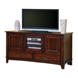 Coaster - TV Console (Medium Brown) By Coaster - This beautiful mission style media console will add great style and function to your living room. The piece is crafted of woods and oak veneers, in a warm medium finish that will add depth to your space. The generously sized top surface of this TV stand will accommodate most televisions up to 55 inches in size. Two wooden doors with slats create the classic mission look, offering enclosed storage to keep clutter hidden. A center glass door with three shelves inside is ideal for electronics components, allowing you to use your remotes through the glass. Two lower drawers create more space for movies and other media items. Details including an exposed joinery look, antique burnished metal hardware, and tapered block feet complete this warm and inviting style. For a well rounded mission ensemble in your living room, choose this stunning media stand. Choose from a variety of TV stands to fit your needs and complement your home decor! With many different styles, finishes, and sizes available you are sure to find an option that you love. With plentiful media storage options, and entertainment solutions, these media console will keep your family and friends happily entertained for h