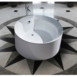 "Aquatica - Aquatica PureScape 141 Freestanding Acrylic Bathtub - White - Treat yourself and soak in peaceful tranquility with Aquatica's stylish and ergonomic PureScape 141 freestanding bathtub. Aquatica challenges everything we thought we knew about a bathtub with the world-class modern design and ergonomic features that are incorporated into all of their luxury tubs. Aquatica Purescape bathtubs are as pleasing to the eye as they are to soak in. Their striking visual appeal adds a mesmerizing modern elegance to any bathroom. From the finest selection of raw materials all the way to the high-class design, Aquatica has spared no expense to innovate and create some of the highest quality bathtubs in the world.FEATURES:Striking upscale modern designFreestanding constructionSolid, one-piece construction for safety and durabilityExtra deep, full-body soakErgonomic design forms to the body's shape for ultimate comfortQuick and easy installationConstructed of 8mm thick 100% heavy gauge sanitary grade precision acrylicPremium acrylic and tub thickness provides for excellent heat retentionHigh gloss white surfaceColor is consistent throughout its thickness - not painted onColor will not fade or lose its brilliance overtimePreinstalled cable drive pop up and waste-overflow fitting includedDesigned for one or two person bathingNon-porous surface for easy cleaning and sanitizingBuilt-in metal base frame and adjustable height metal legsChrome plated drain5 Year Limited WarrantyCode compliant with American standard 1.5"" waste outletsSPECIFICATIONS:Overall Dimensions: 53.75 in. L X 53.75 in. W X 23.25 in. HDepth to Overflow Drain: 15 in.Interior Depth: 17.75 in.Interior Length (Top): 43 in.Interior Width (Top): 43 in.Interior Length (Bottom): 35.5 in.Interior Width (Bottom): 35.5 in.Weight: 94 lbsCapacity: See Spec SheetShape: CircularDrain Placement: ReversibleSpec SheetNote: This model usually ships in 1-2 days. Please allow an additional 2-3 business days for order transmittal and verification."
