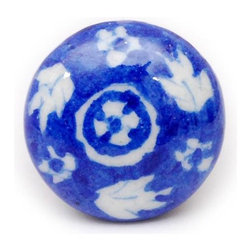 """Knobco - Floral Designs, Blue and white - Blue and white hand painted drawer knobs from Jaipur, India. Decorative cabinet hardware for you kitchen cabinets. 1.5"""" in diameter. Includes screws for installation."""