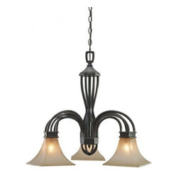 "Golden Lighting - Golden Lighting 1850-ND3 Wrought Iron Three Light Chandelier Genesis Co - *Requires 3 100w Medium Bulbs (not included)Features 3 Evolution Glass Shades and a Roan Timber FinishIncludes 72"" of Chain for Hanging"