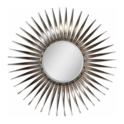 Uttermost - Sedona Silver Ray Mirror - Frame Is Made Of Hand Forged Metal With Bursting Rays Of Antiqued Silver Leaf And Burnished Undertones. Mirror Is Beveled.