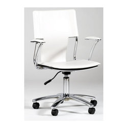 Chintaly - Contemporary White Gas-Lift Swivel Desk Chair - In a fast-paced workspace, you want seating that's sleek and comfortable. Behind the desk, you'll be sitting in style with this white chair. Vinyl upholstery offers angled contouring at the back that complements the gently curved seat and raised padded armrests. Metal chair with PVC. Pneumatic Lift. White upholstery. Silver base. No assembly required. 250 lb. weight limit