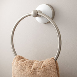 Houston Towel Ring - Give bath towels a stylish place to drape with the Houston Collection Towel Ring. This porcelain base and solid brass construction offer lasting beauty.