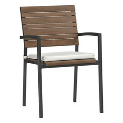 Rocha Dining Chair With Sunbrella White Sand Cushion - These Rocha dining chairs have a clean, modern design with their mix of gorgeous Brazilian ipe wood and a lightweight aluminum frame. I love the color combination of the white, brown and dark gray.