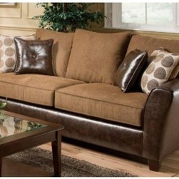 Chelsea Home Union Sofa - Too Good Chocolate - There's no such thing as too good when it comes to the looks of the Chelsea Home Union Sofa - Too Good Chocolate. The stunning contrast of rich textures and colors make this ultra comfortable sofa the perfect place to gather.About Chelsea Home FurnitureProviding home elegance in upholstery products such as recliners, stationary upholstery, leather, and accent furniture including chairs, chaises, and benches is the most important part of Chelsea Home Furniture's operations. Bringing high quality, classic and traditional designs that remain fresh for generations to customers' homes is no burden, but a love for hospitality and home beauty. The majority of Chelsea Home Furniture's products are made in the USA, while all are sought after throughout the industry and will remain a staple in home furnishings.
