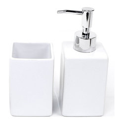 Gedy - White Pottery 2 Piece Accessory Set - High-end white accessory set includes soap dispenser and toothbrush holder.