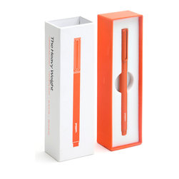 Poppin - The Heavy Weight Pen, Orange - From love notes to grocery lists, you will scribble with serious gravitas. This ballpoint pen is crafted with a 10mm brass barrel, writes like a dream in blue ink and comes in a choice of eye-popping colors to lighten the mood. It even comes with its own slider box so you can keep it safe — or give it away now.