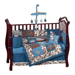 Sweet Jojo Designs - Surf Blue & Brown 9-Piece Crib Bedding Set - The Surf Blue & Brown 9 pc Crib Bedding Set by Sweet Jojo Designs has all that your little bundle of joy will need. Let the little one in your home settle down to sleep in this incredible nursery set. This baby boy bedding set features surf themed appliqués and embroidery works of surfboards and tropical leaves with a Hawaiian leaf print border. This collection uses the stylish colors of blue, brown, orange, green, and ivory. The design uses 100% cotton fabrics with polyester fill that are machine washable for easy care. This wonderful set will fit all cribs and toddler beds.