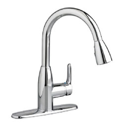 """American Standard - American Standard 4175.300.002 Colony Soft Pull-Down Kitchen Faucet, Chrome - This American Standard 4175.300.002 Colony Soft Pull-Down Kitchen Faucet is part of the Colony collection, and comes in a beautiful Chrome finish. This pull-down kitchen faucet features a 14-5/8"""" high brass swivel spout, a metal lever handle, and 20"""" braided flexible supply hoses with 3/8"""" compression connectors."""