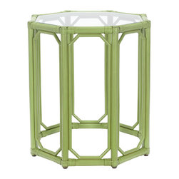 Selamat Designs - Selamat Designs Kiwi Regeant Octagon End Table - Kiwi CutieEight sides are better than four when it comes to this Kiwi Regeant Octagon End Table from Selamat Designs. Eco-friendly leather wrapped rattan pole in a bright kiwi green finish is used for the lightweight base. Clear ¼' thick inset tempered glass serves as the top of this open side table. Set this classic end table beside your sofa or bed for a refreshing look.Made in IndonesiaCertified green by the Sustainable Furnishings Council