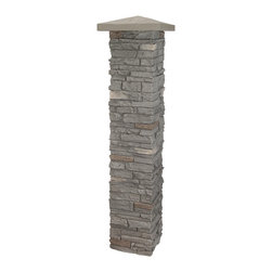 """NextStone - NextStone Faux Stone Post Columns - 1 Piece, Rundle Ridge (Gray) - Manufactured with specially formulated polyurethane combined with fire retardants and UV inhibitors, NextStone™ simulated stone post columns are cast from actual stone and rock. Our unique manufacturing process gives NextStone™ products the most authentic """"faux"""" stone look on the market today. Once you see our products, you'll be asking yourself: """"Is it real rock... or is it NextStone?""""  Fits over 4x4 or 6x6 deck posts.  Post cap sold separately."""