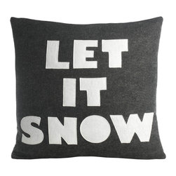 alexandra ferguson llc - 'Let It Snow' Pillow, Charcoal/White - Remember how magical snowfall was as a kid? Will we get a snow day from school? Can we go sledding yet? Making that first footprint in an un-touched field, and then running around like a maniac to mess it all up....(OK maybe that last one was just me...)