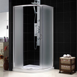 "BathAuthority LLC dba Dreamline - Solo Frameless Sliding Shower Enclosure, 36 3/8""D x 36 3/8""W x 72""H, Frosted - The Solo shower enclosure opens up the look of a smaller bathroom with a fresh modern style. Graceful lines accentuate the quarter round enclosure with beautifully curved tempered glass. The innovative design is a smart solution where space is limited. The sliding door creates a comfortable opening without claiming the space required for a swing door. Combine this enclosure with a DreamLine acrylic shower base and backwalls system for a streamlined installation."