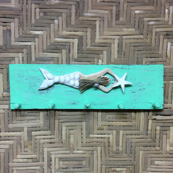 Bamboo Source - Mermaid Peg Hanger - Keep coats and keys organized with this wooden peg hanger.   18'' W x 5.5'' H x 3'' D Wood Imported